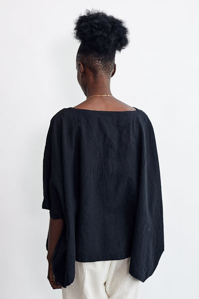Uzi Cube Top Black Hand Sewn Brooklyn NYC Oversized Boat Neckline One Size Cotton Tunic Top - Parc Shop