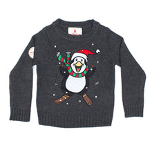 Load image into Gallery viewer, Kids Skiing Pengiun Christmas Jumper