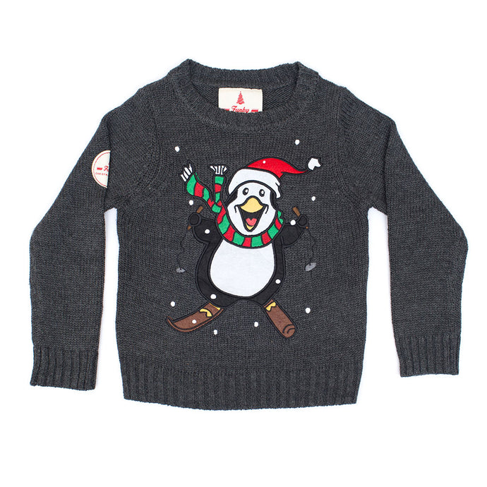 Kids Skiing Pengiun Christmas Jumper