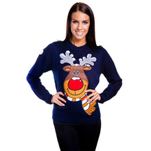 Load image into Gallery viewer, Funky Christmas Jumper rudolph christmas jumper for females