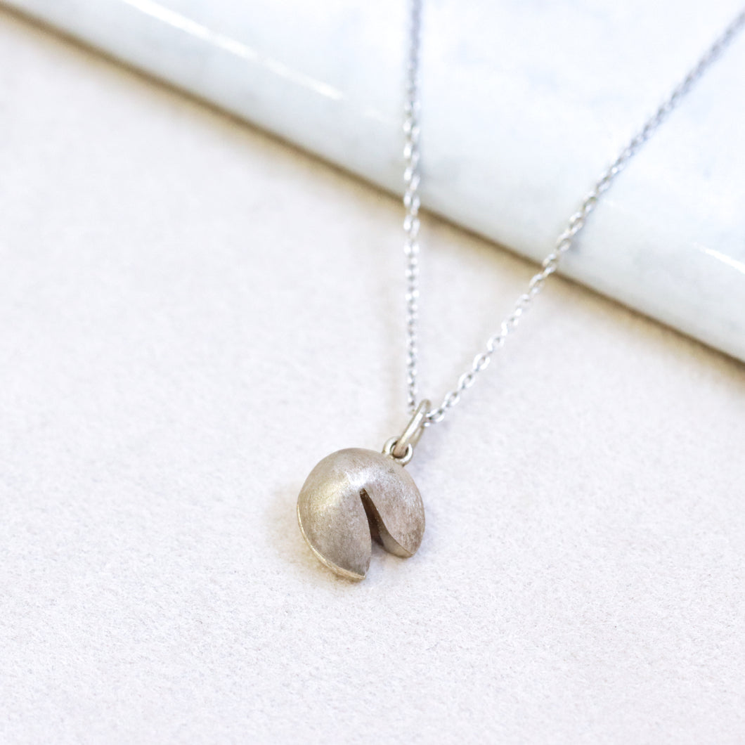 Fortune Cookie Silver Necklace