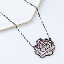 Load image into Gallery viewer, Black Rose Necklace