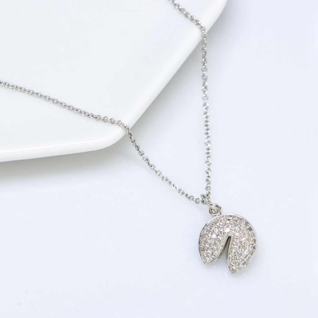 Diamond Fortune Cookie White Gold Necklace