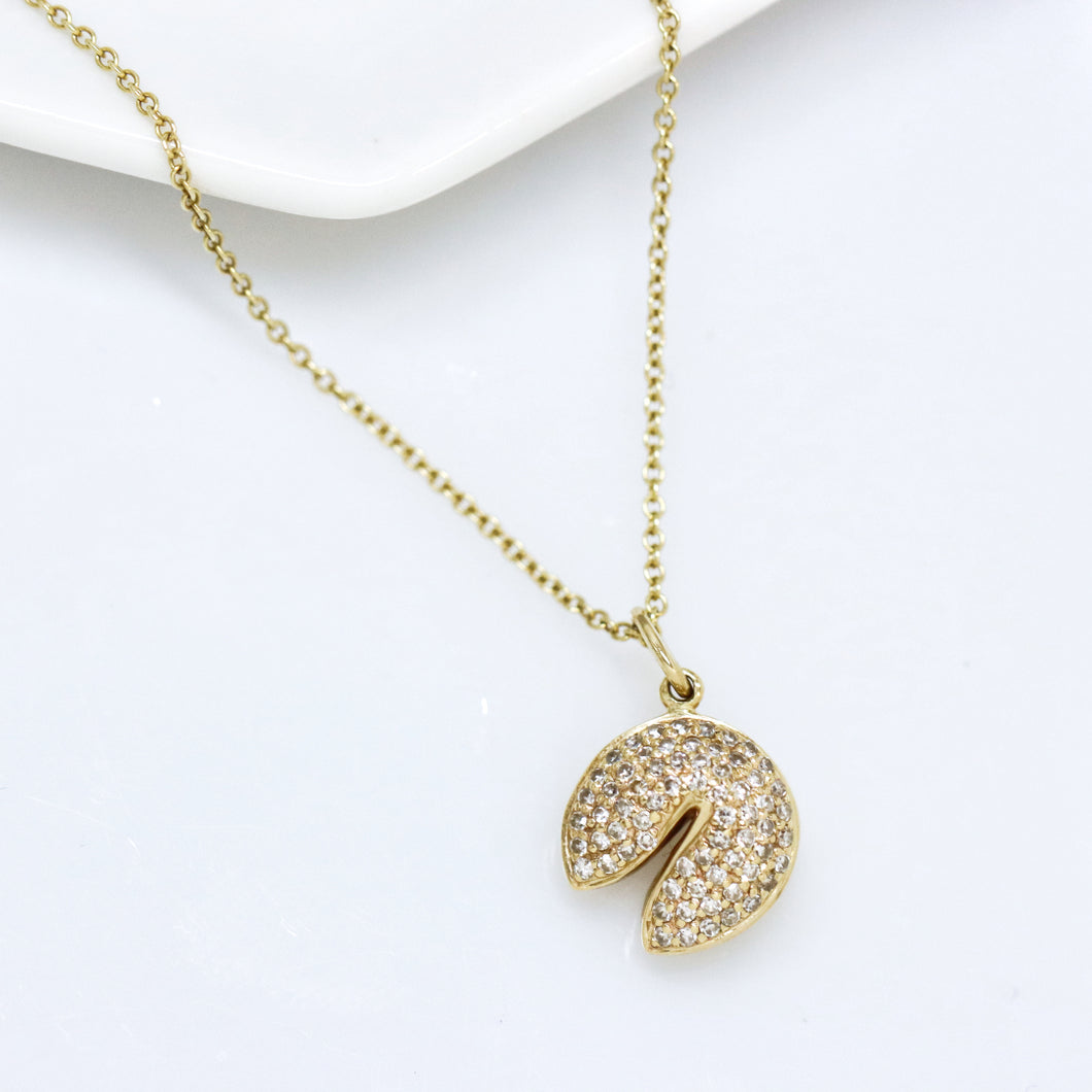 Diamond Fortune Cookie Gold Necklace