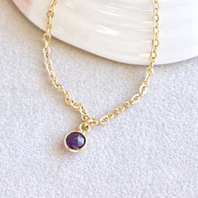 Load image into Gallery viewer, Amethyst Drop Gold Bracelet