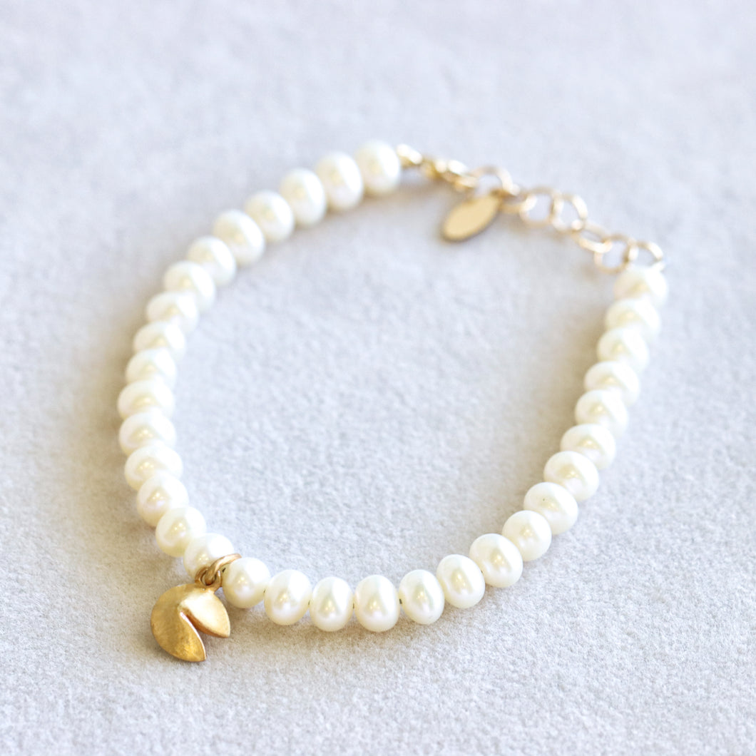 Pearl Fortune Cookie Gold Bracelet