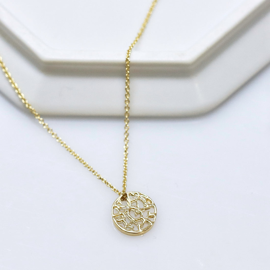 Filigree Disc 14k Gold Necklace