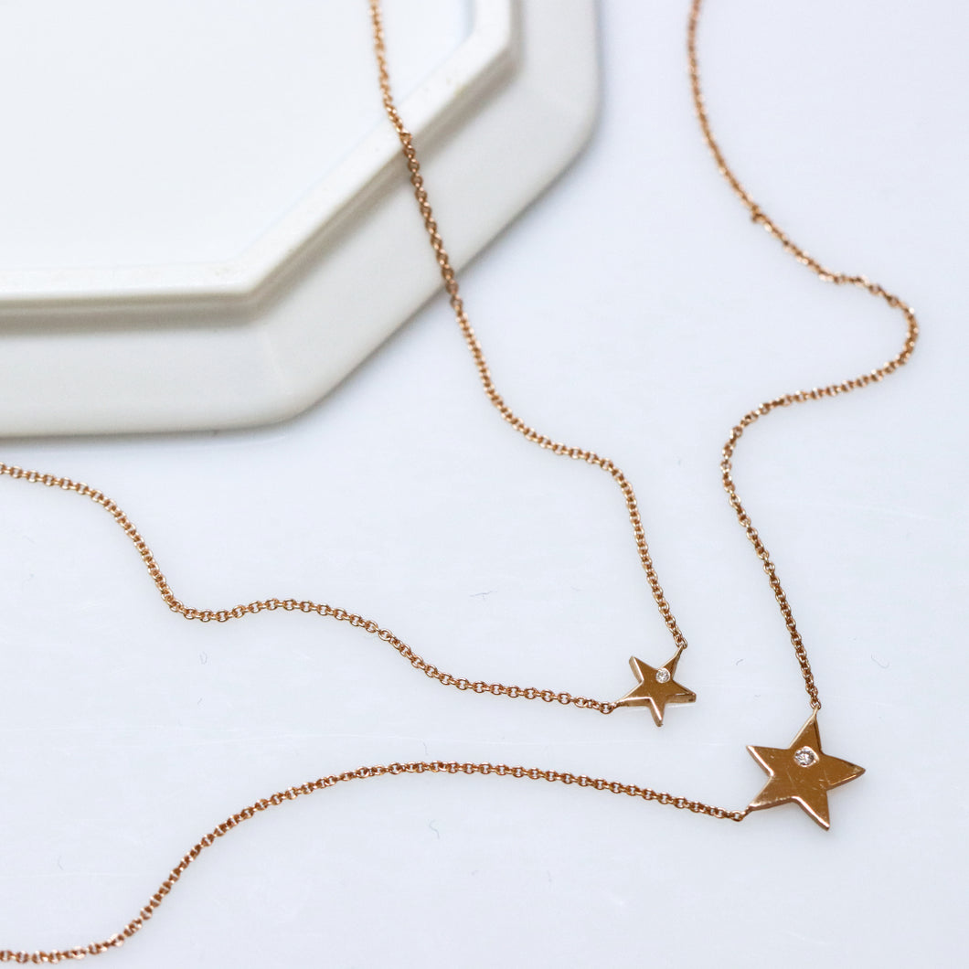 Star Diamond Rose Gold Necklace