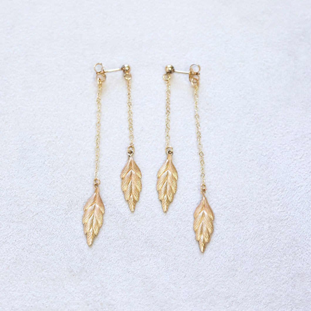 Leaf Front Back Gold Earrings