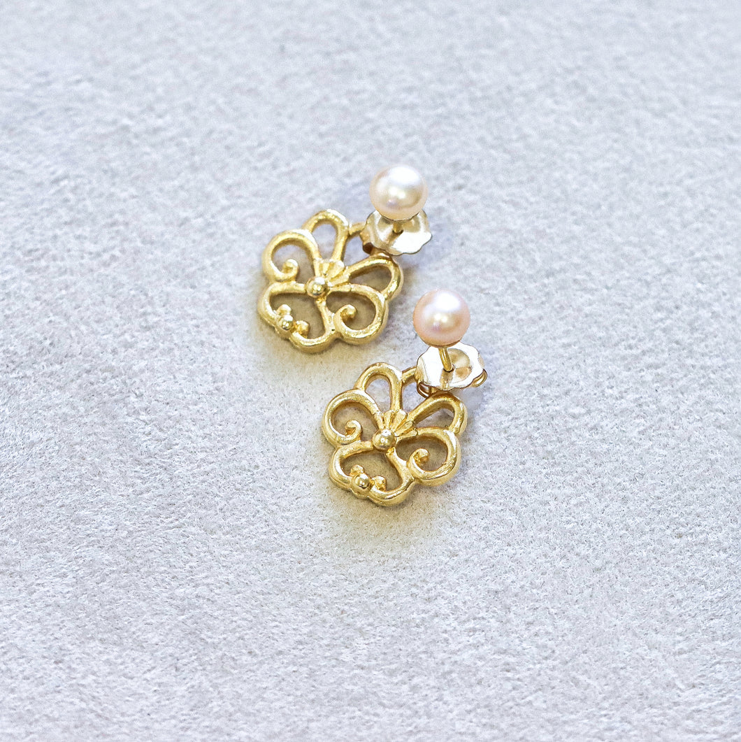 Pearl Filigree Front Back Earring