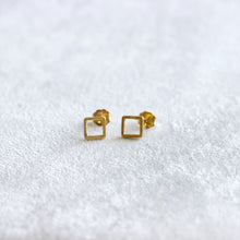 Load image into Gallery viewer, Open Square Rose Gold Stud