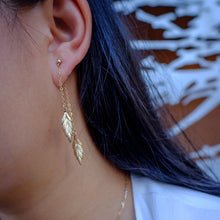 Load image into Gallery viewer, Leaf Front Back Gold Earrings