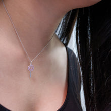 Load image into Gallery viewer, Pink Sapphire Lollipop Necklace