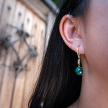 Load image into Gallery viewer, Malachite Drop Gold Earrings