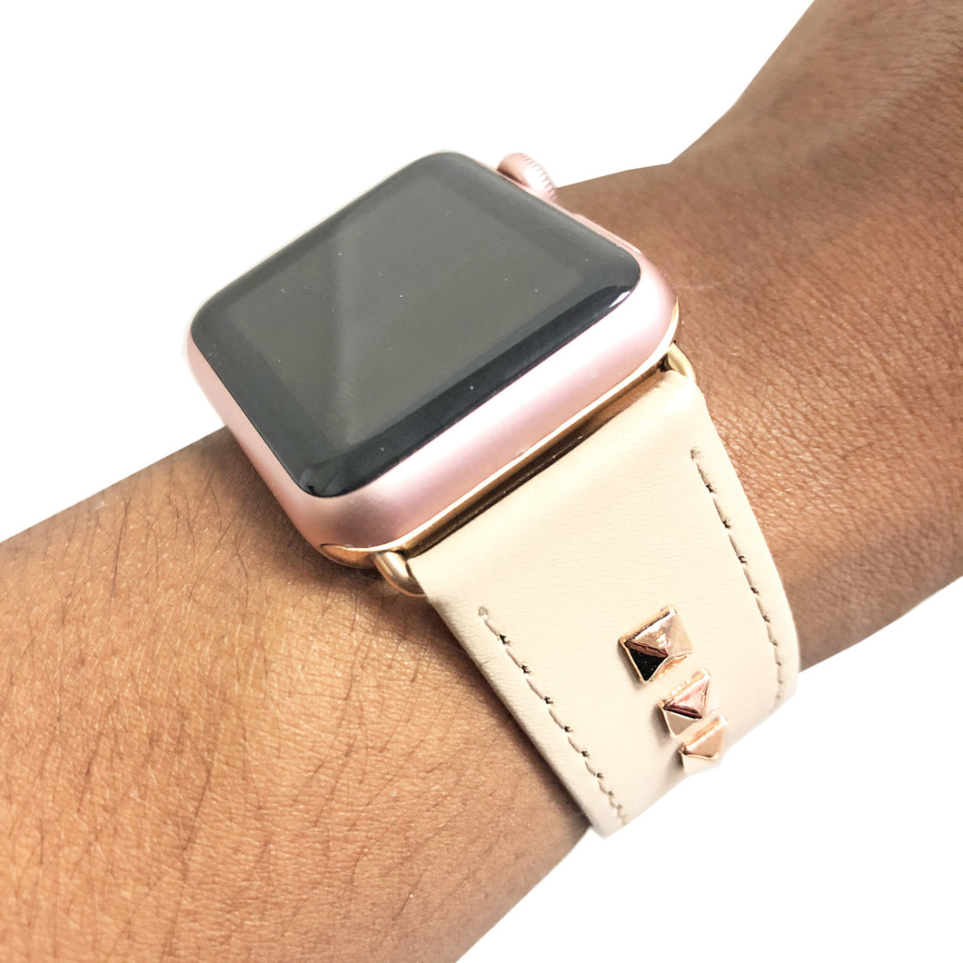 Genuine Leather Studded Apple Watch Band in Beige and Rose Gold