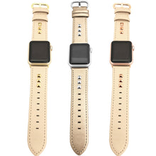 Load image into Gallery viewer, Genuine Leather Studded Apple Watch Band in Beige and Rose Gold