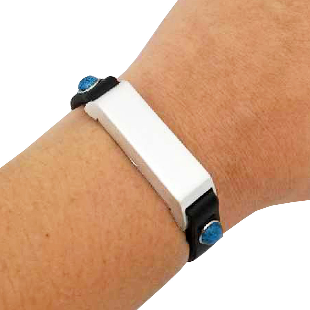 The KATE Single-Strap in Turquoise Studded Black and Silver for Fitbit Flex 2