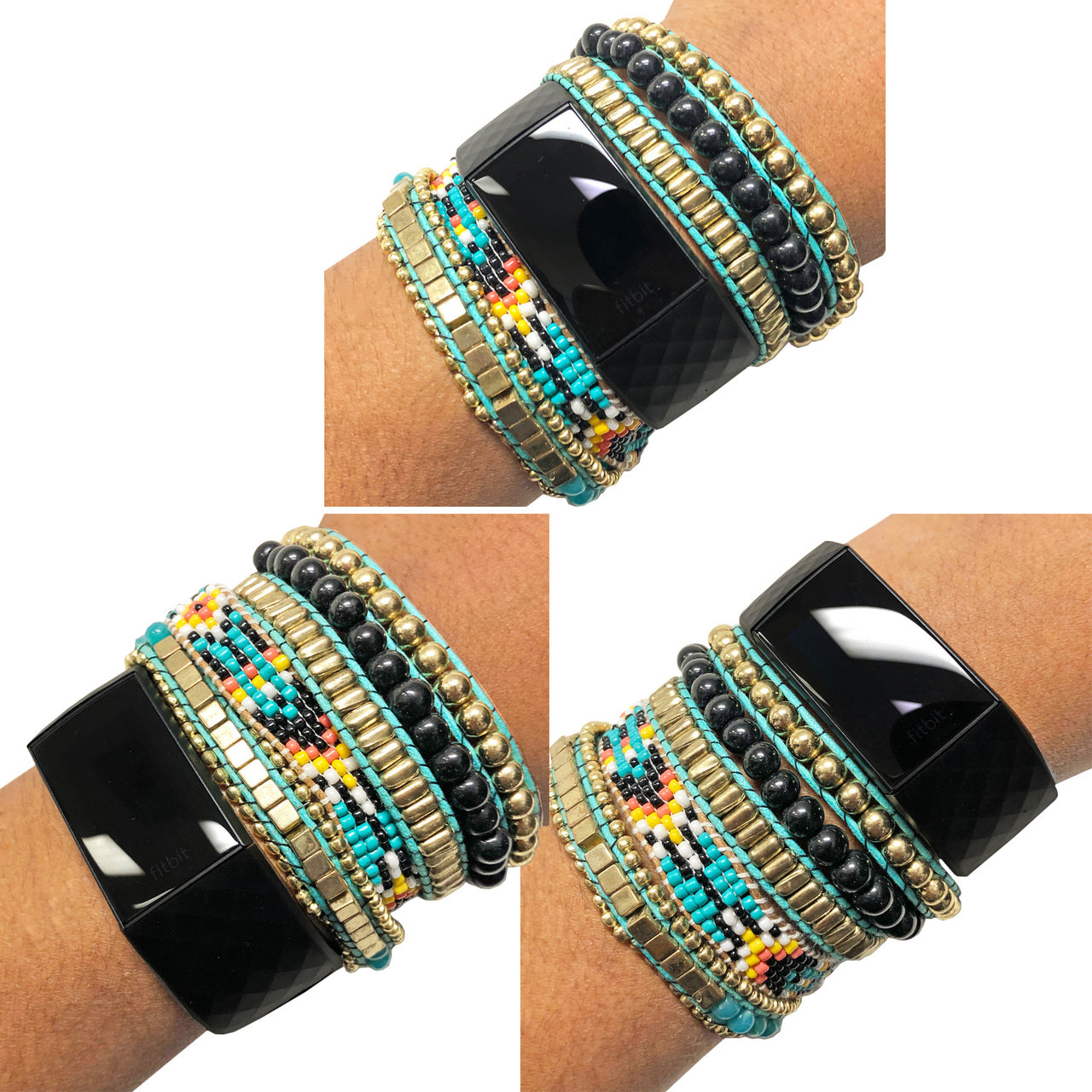 Fitbit Bracelet to Accessorize the Fitbit Charge 3 Band Fitness Tracker ROSIE Beaded Layered Bracelet to Dress Up Your Activity Tracker