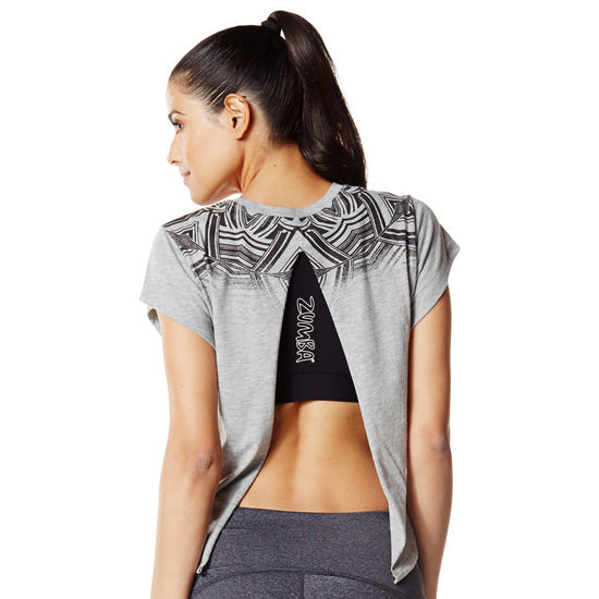 Zumba Fitness Relaxed Open Back Crop Top - Thunderin Grey