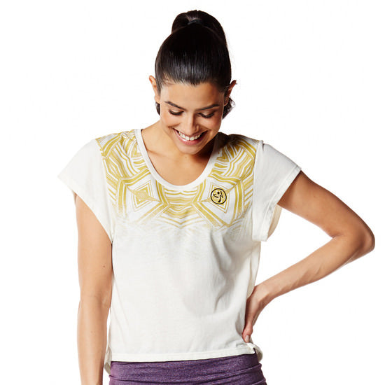 Zumba Fitness Relaxed Open Back Crop Top - Off the Chain White