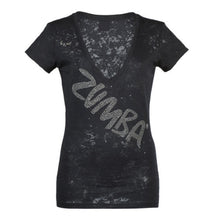 Load image into Gallery viewer, Zumba UK London Harrods Glam V-Neck - Caviar Black