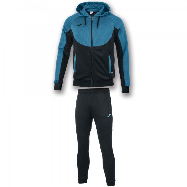 Joma Tracksuit With Hood Essential Black-Turquoise