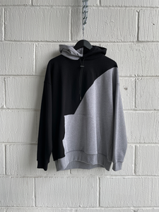 SAMPLE HOODIE — SPLIT HOOD BLACK/GREY (M)
