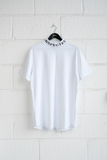 SAMPLE T-SHIRT — MOCK NECK WHITE