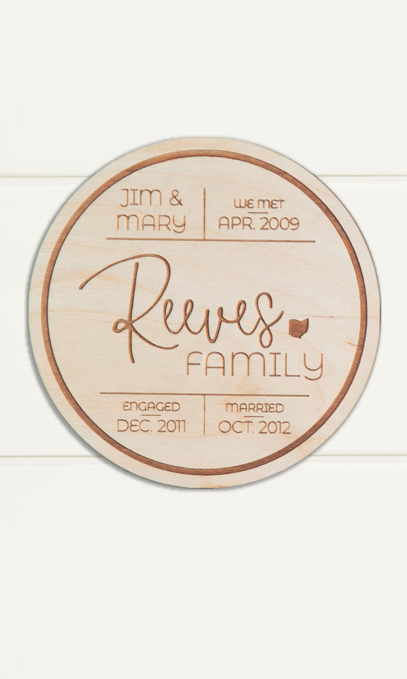 "Mini Round, Custom Engraved Family Name Sign with Names & Birthdates - 6"" Diameter"