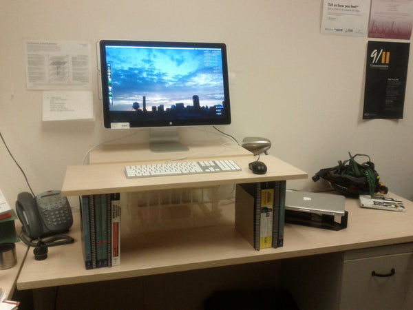 DIY standing desk with books