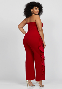 Red Ruffle Strapless Jumpsuit