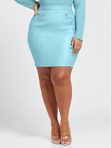 Blue Faux Leather Pencil Skirt
