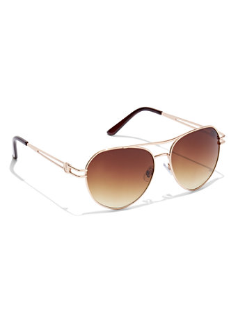 Brown & Gold Aviator Sunglasses
