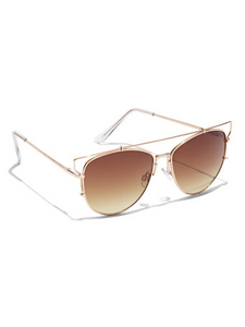 Brow-Bar Aviator Sunglasses - BRN