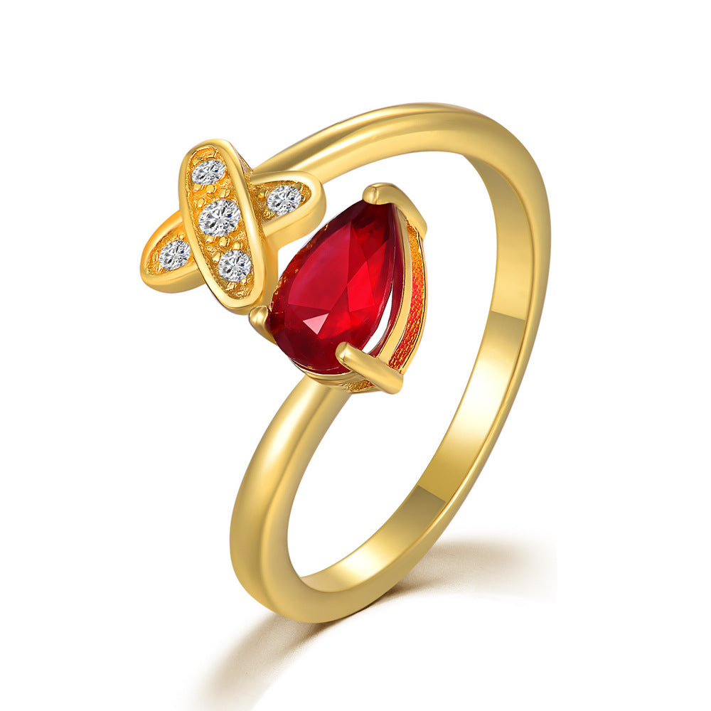 Adjustable Ruby Gold Ring