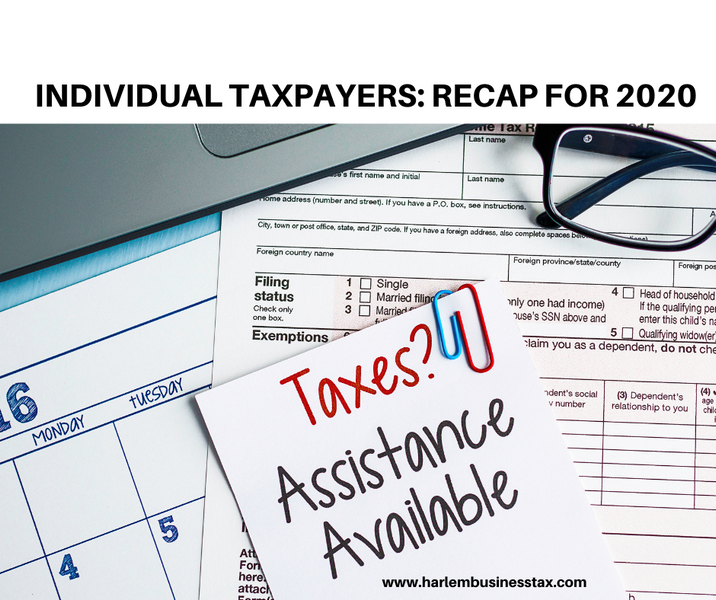 INDIVIDUAL TAXPAYERS: RECAP FOR 2020