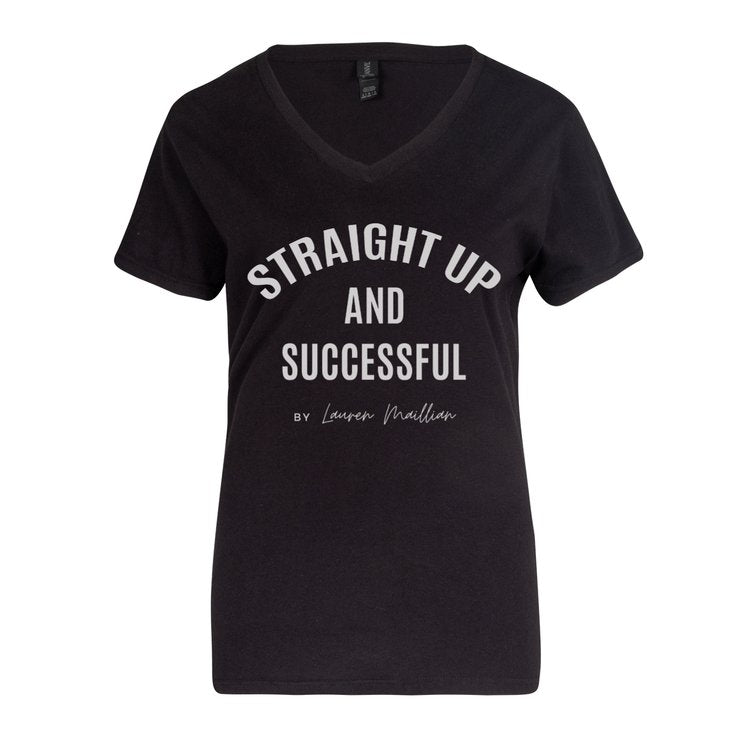 Women V-Neck T-shirt -(Black) Straight Up and Successful