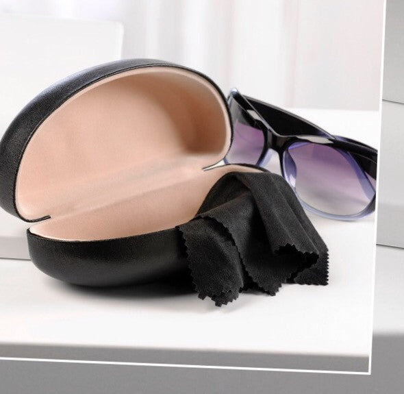 Large Black Sunglass Case with Cleaning Cloth