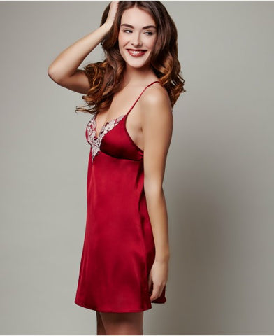 Montelle 9242 Satin Chemise Jewel Red
