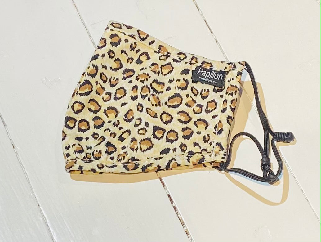 Adult Beige Leopard Cotton Mask with Adjustable Ear Pieces