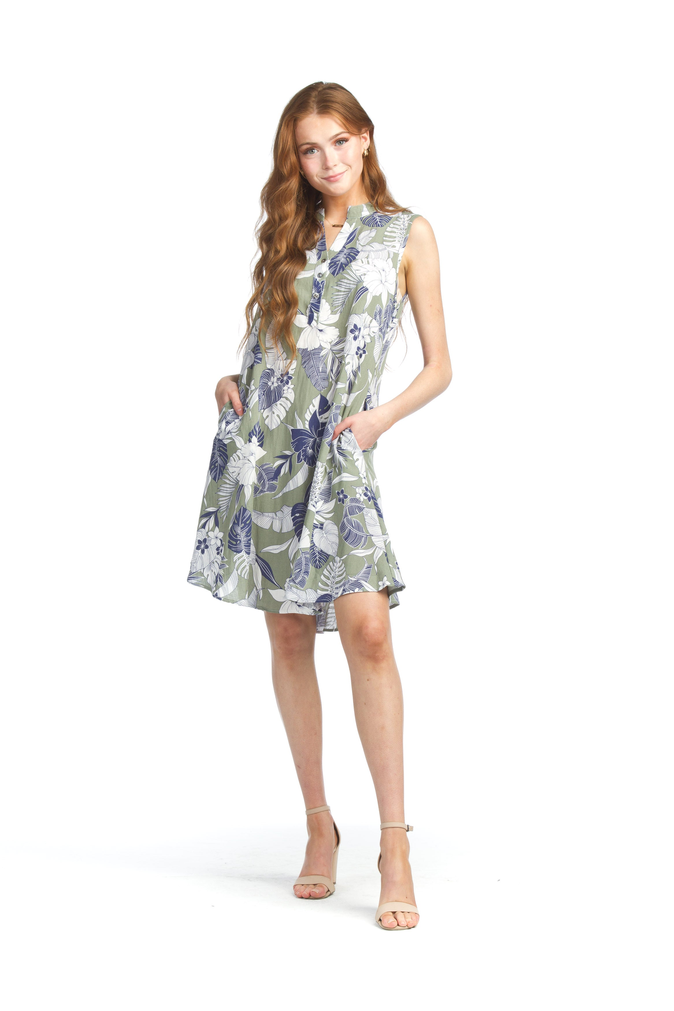 Papillon PD07600 Floral and Leaf Print Henley Dress