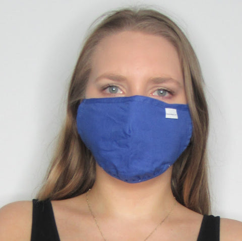 Adult Blue Cotton Mask with Adjustable Ear Pieces