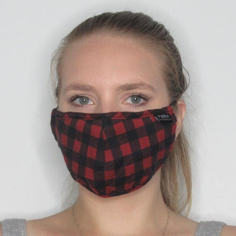 Adult Plaid Cotton Mask with Adjustable Ear Pieces