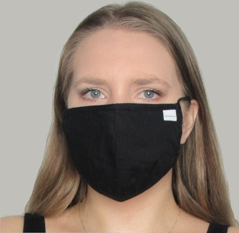 Adult Black Cotton Mask with Adjustable Ear Piece.