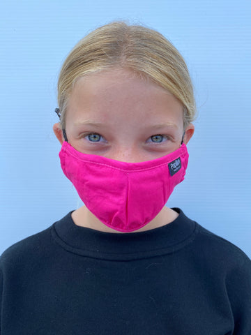 Youth Fushia Cotton Mask with Adjustable Ear Pieces