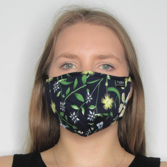 Adult Navy Floral Cotton Mask with Adjustable Ear Pieces
