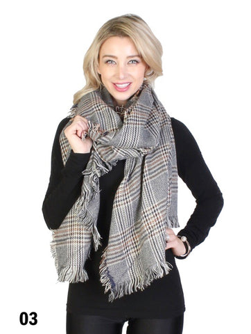 Plaid Black Blanket Scarf