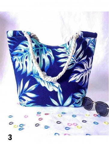 Beach Bag Blue Topical Print