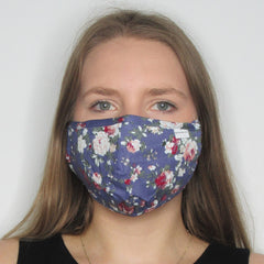 Adult Blue Floral Cotton Mask with Adjustable Ear Pieces