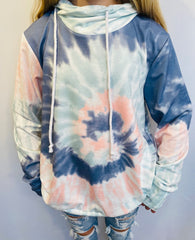 IG Tie dye Hoodie with Cowl Neck